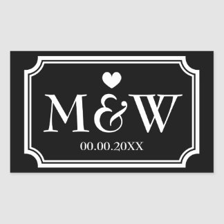 Rectangle monogram wedding favor stickers seals