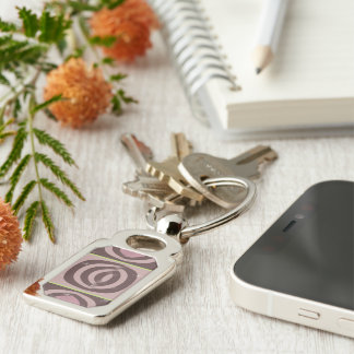Rectangle RETRO MAUVE PATTERN Silver-Colored Rectangle Keychain