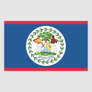 Rectangle sticker with Flag of Belize
