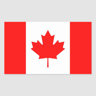 Rectangle sticker with Flag of Canada