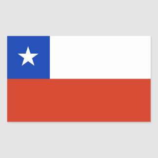 Rectangle sticker with Flag of Chile