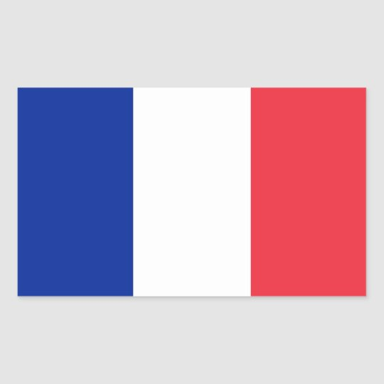 Rectangle sticker with Flag of France