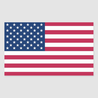 Rectangle sticker with Flag of  U.S.A.
