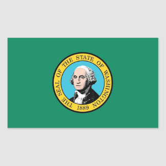 Rectangle sticker with Flag of Washington State