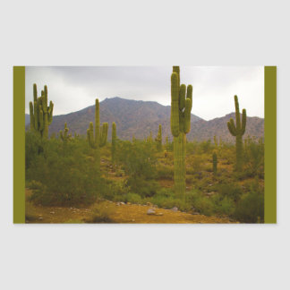 Rectangle Stickers, Glossy Bright Sahuaro Cacti