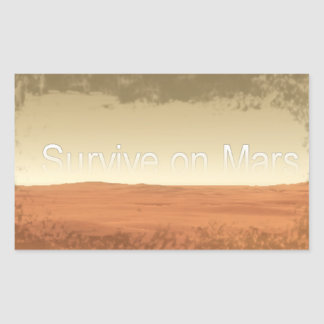 Rectangle Stickers with Survive On Mars