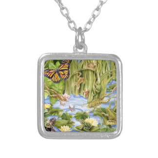 Rectangular Frog Silver Plated Necklace