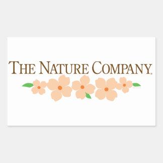 Rectangular logo sticker with flowers
