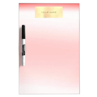 Rectangular Pink Coral Gold Foxier Metallic Dry Erase Board