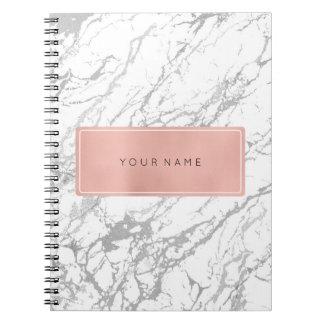 Rectangular Pink Rose Gold Marble Silver Metallic Notebooks