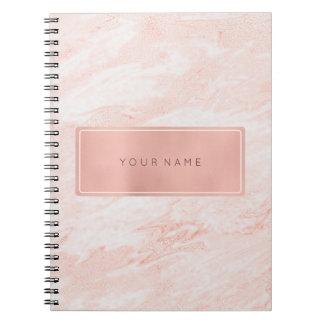 Rectangular Pink Rose Gold Powder Metallic Marble Spiral Notebook