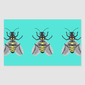 Rectangular Sticker with Colorful Bee