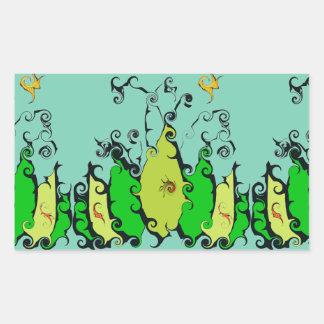 Rectangular Sticker with Leafy Design