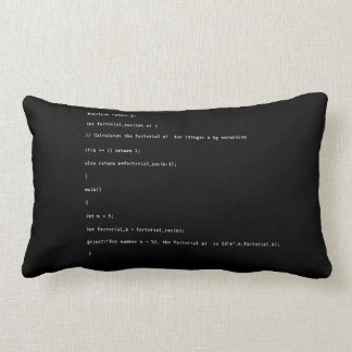 Recursive Function on Black Background Lumbar Pillow