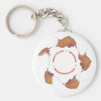 Recycle a hand drawing a hand... basic round button keychain