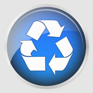 Recycle Blue Icon (pack of 6/20) Classic Round Sticker