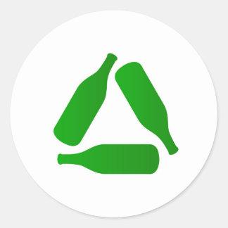 Recycle bottles round sticker