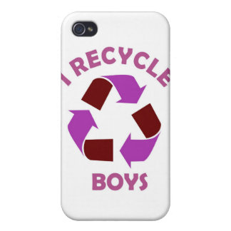 recycle boys funny text humor message pink iPhone 4/4S cover