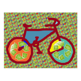 recycle color bike postcard