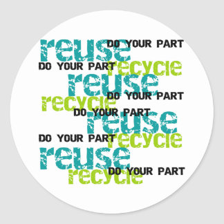 Recycle Do Your Part Classic Round Sticker
