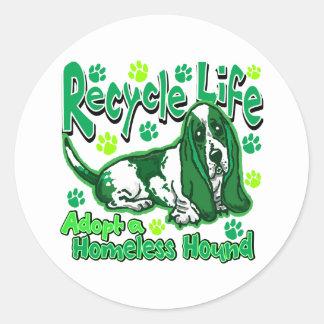 Recycle Dog Round Sticker