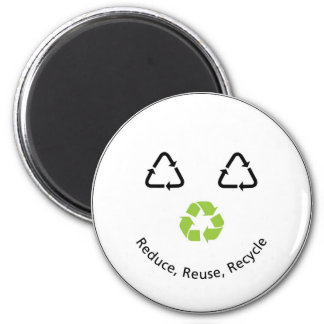 Recycle Funny Face 2 Inch Round Magnet