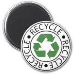 Recycle Green Centre Logo 2 Inch Round Magnet