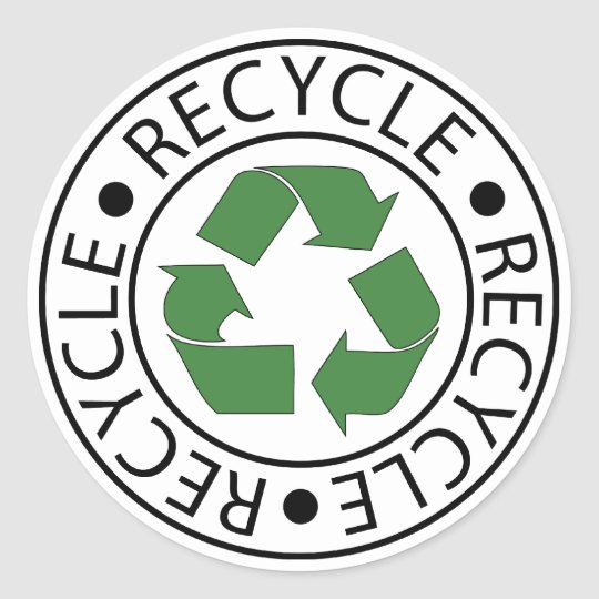 Recycle Green Centre Logo Round Sticker