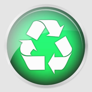 Recycle Green Icon (pack of 6/20) Classic Round Sticker