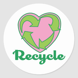 Recycle Heart Classic Round Sticker
