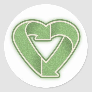 Recycle Heart -grn Classic Round Sticker