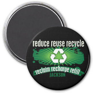 Recycle Jackson 3 Inch Round Magnet
