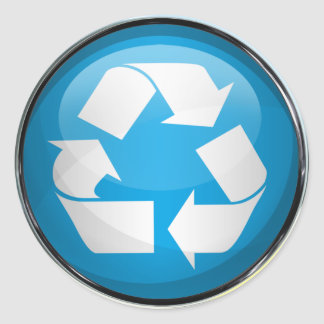 Recycle Logo in Glass (set of 6/20) Round Sticker