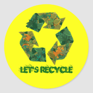 Recycle logo made of leaves. round stickers