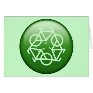 Recycle Logo w/ Bicycles Greeting Card