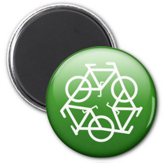Recycle Logo w/ Bicycles Magnet