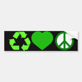 Recycle Love and Peace Bumper Sticker