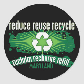 Recycle Maryland Classic Round Sticker