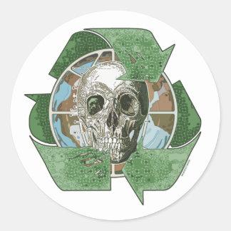 Recycle or Die Skull Round Sticker