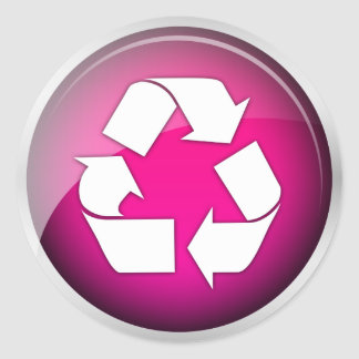 Recycle Pink Icon pack of 6 20 Round Stickers