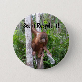 Recycle  Plastic Trash Conservation 2 Inch Round Button