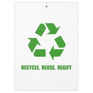 Recycle Reuse Regift Clipboards