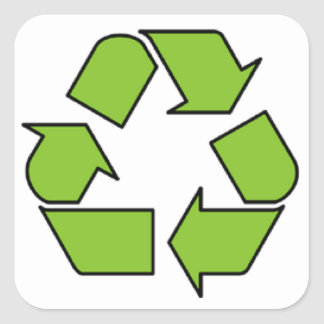 RECYCLE SIGN - Green Belt recycle symbol Square Sticker