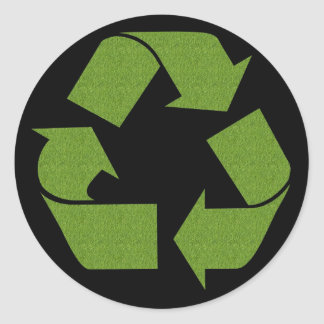 Recycle Symbol Grass Classic Round Sticker