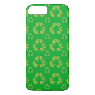 Recycle symbol isolated on green background iPhone 8 plus/7 plus case