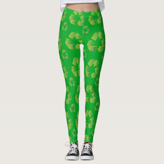 Recycle symbol isolated on green background leggings