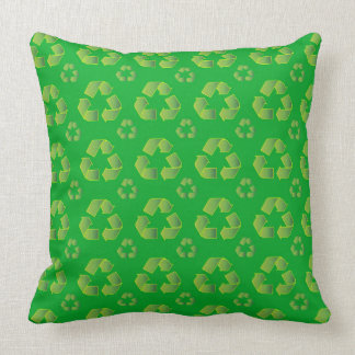 Recycle symbol isolated on green background throw pillow