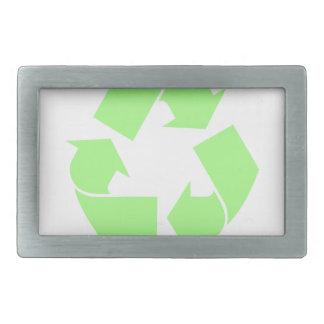 Recycle Symbol Rectangular Belt Buckle