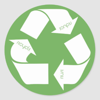 Recycle Symbol Round Stickers