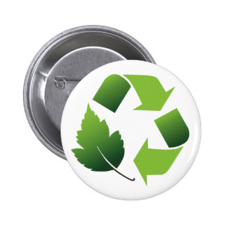 RECYCLE SYMBOL WITH LEAF BUTTON